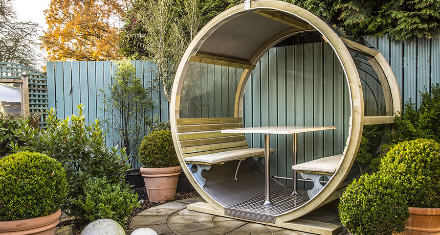Rotating pod the wheel bench for Outdoor pod room